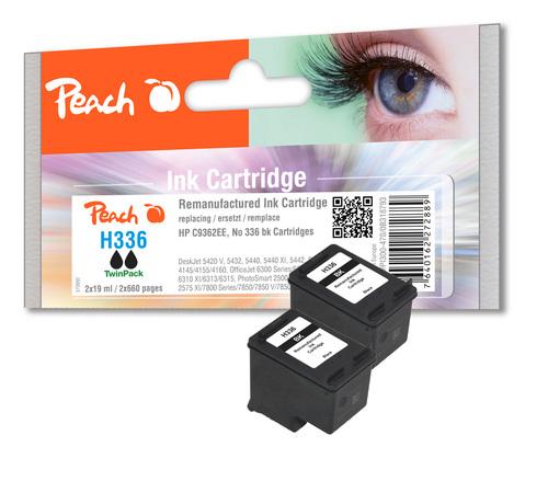 Peach Doppelpack Druckköpfe schwarz kompatibel zu HP No. 336, C9362E