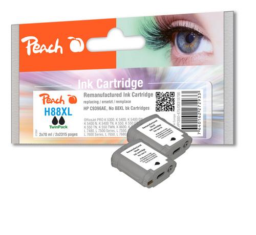 Peach Doppelpack Tintenpatronen schwarz kompatibel zu HP No. 88XL, C9396AE