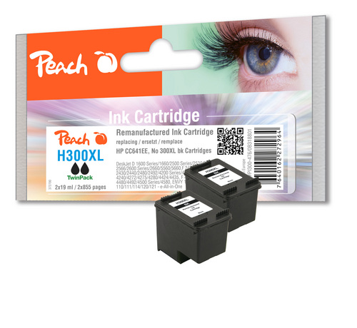 Peach Twin Pack Print Heads noire, compatible avec HP No. 300XL, CC641EE