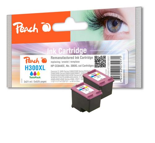 Peach Twin Pack Print Heads couleur, compatible HP No. 300XL, CC644EE