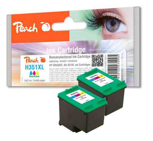 Peach Twin Pack Print Heads couleur, compatible HP No. 351XL, CB338EE