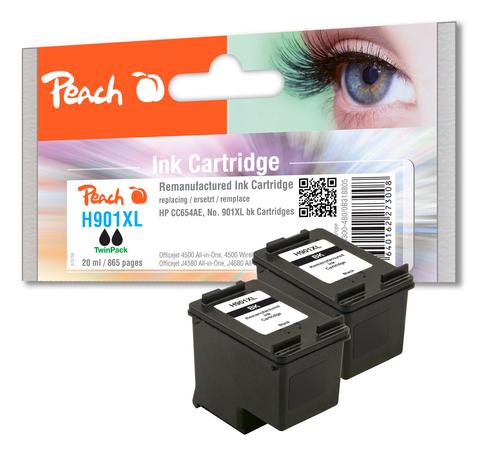 Peach Twin Pack Tête d'impression noire, compatible avec HP No. 901XL, CC654AE