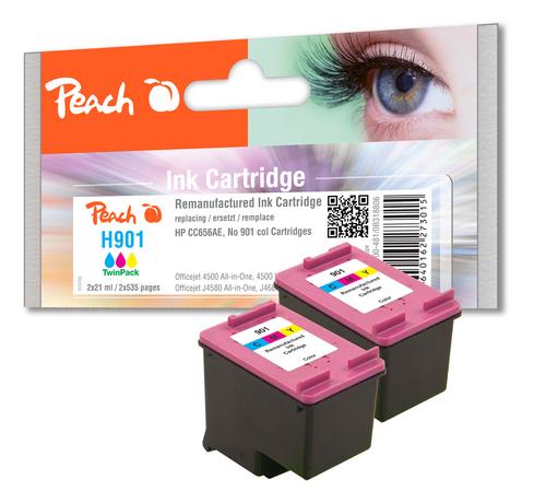 Peach Doppelpack Druckköpfe color kompatibel zu HP No. 901, CC656AE