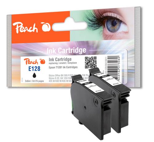 Peach Doppelpack Tintenpatronen schwarz kompatibel zu Epson T128, T1281