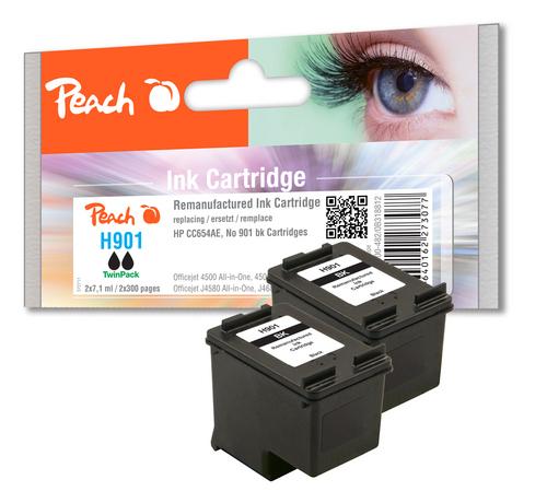 Peach Doppelpack Druckköpfe schwarz kompatibel zu HP No. 901, CC653AE