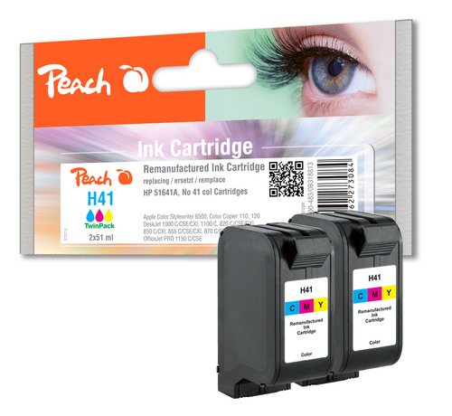 Peach Twin Pack Print Heads couleur, compatible HP, Apple No 41, 51641A