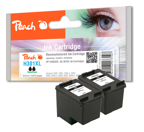 Peach Doppelpack Druckköpfe schwarz kompatibel zu HP No. 301XL, CH563EE