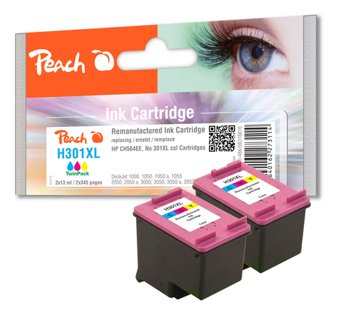 Peach Twin Pack Tête d'impression couleur, compatible avec HP No. 301XL, CH564EE