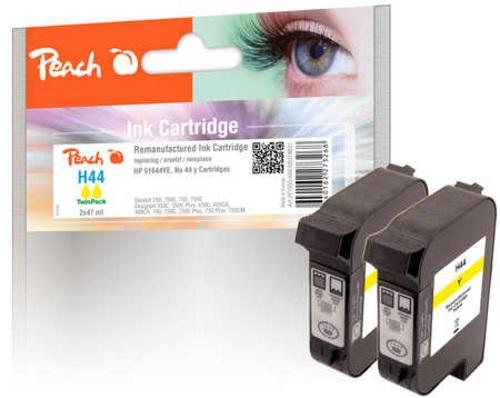 Peach Doppelpack Druckköpfe gelb kompatibel zu HP Nr. 44, 51644YE
