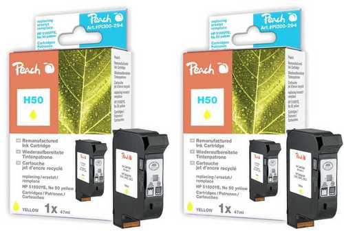 Peach Doppelpack Druckköpfe gelb kompatibel zu HP no.50, 51650YE