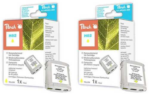 Peach Twin Pack Cartouche d'encre jaune, compatible avec HP No. 82, C4913A