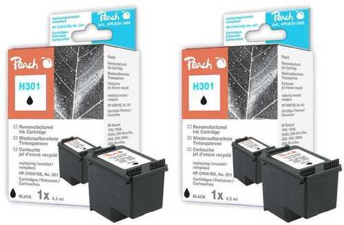 Peach Twin Pack Tête d'impression noire, compatible avec HP No. 301, CH561EE
