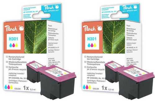 Peach Twin Pack Tête d'impression couleur, compatible avec HP No. 301, CH562EE