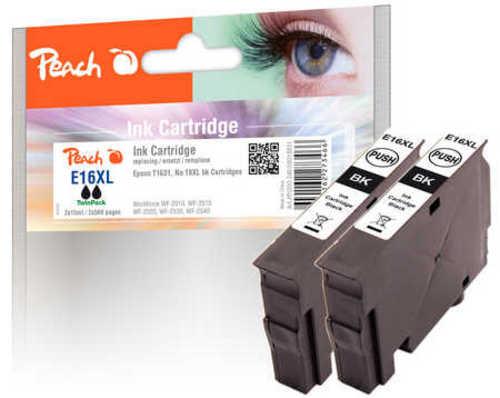 Peach Doppelpack Tintenpatronen schwarz kompatibel zu Epson T1631, No. 16XL