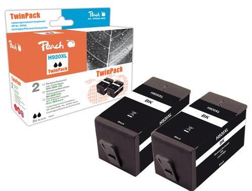Peach TwinPack Tintenpatrone schwarz HC kompatibel zu HP No. 920XL, CD975AE