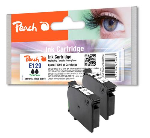 Peach Twin Pack Cartouche d'encre noire, compatible avec Epson T129, T1291