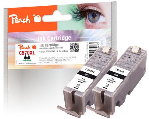 Peach Twin Pack Cartouche d'encre XL noire, compatible avec Canon PGI-570XL bk