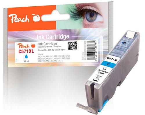 Peach Tintenpatrone XL cyan kompatibel zu Canon CLI-571XL c