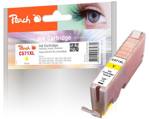 Peach Cartouche d'encre XL jaune, compatible avec Canon CLI-571XL y