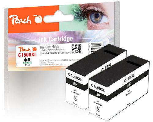 Peach Twink Pack XL Cartouche d'encre noire, compatible avec Canon PGI-1500BK XL