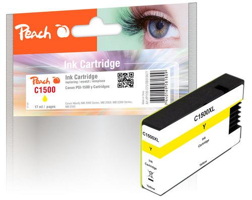 Peach cartouche d'encre jaune XL avec puce, compatible avec Canon PGI-1500Y XL