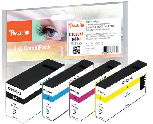Peach Multipack avec puce, compatible avec Canon PGI-1500 XL