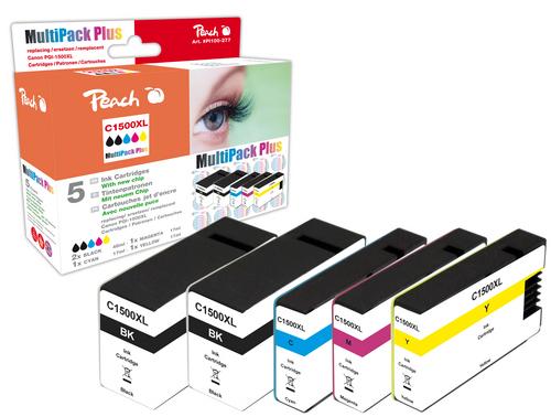 Peach Multipack Plus avec puce, compatible avec Canon PGI-1500 XL