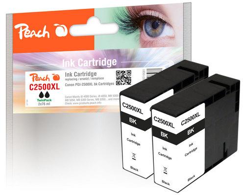 Peach Doppelpack XL-Tintenpatrone schwarz  kompatibel zu Canon PGI-2500