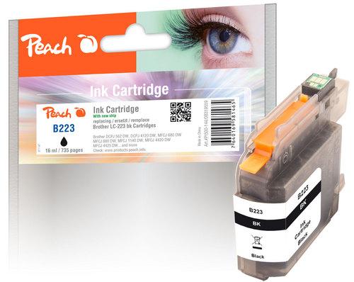 Peach Cartouche d'encre noir, compatible avec Brother LC-223, LC-223BK