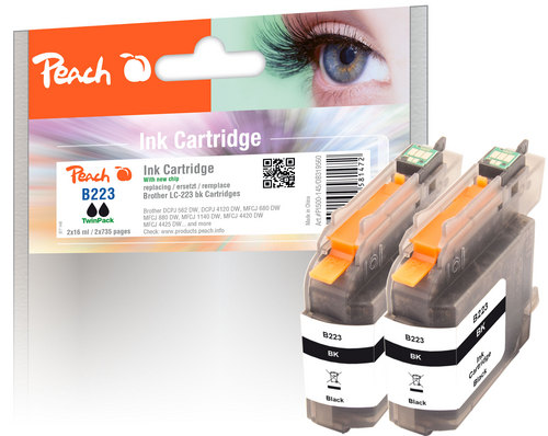 Peach Twin Pack Cartouche d'encre noire, compatible avec Brother LC-223BK