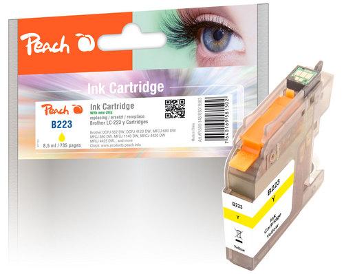 Peach Cartouche d'encre jaune, compatible avec Brother LC-223, LC-223Y