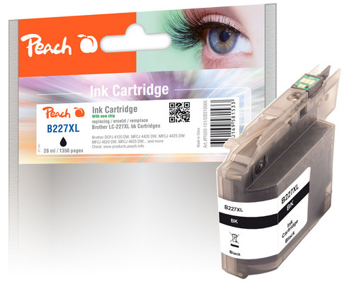 Peach Tintenpatrone schwarz XL, kompatibel zu Brother LC-227XLBK