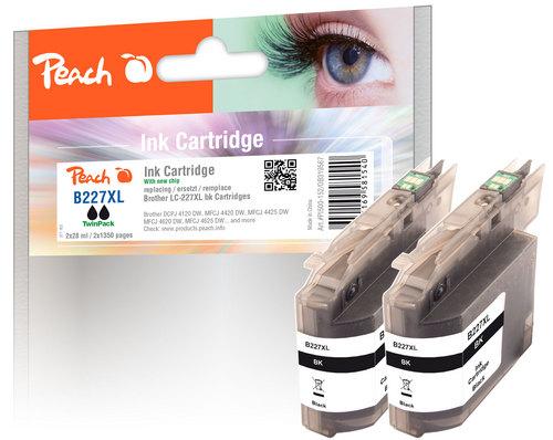 Peach Twin Pack Cartouche d'encre noire, compatible avec Brother LC-227XLBK