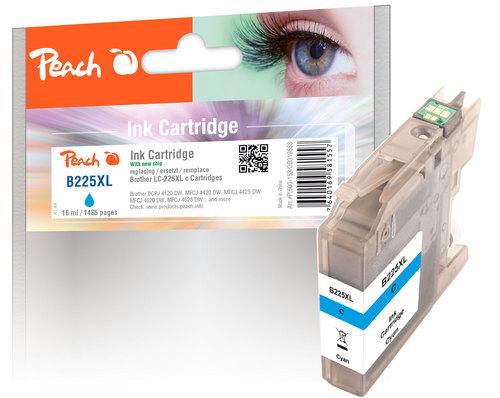 Peach Cartouche d'encre cyan XL, compatible avec Brother LC-225XLC