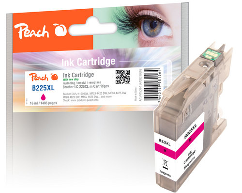 Peach Tintenpatrone magenta XL, kompatibel zu Brother LC-225XLM