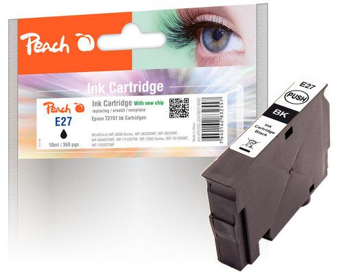 Peach Tintenpatrone schwarz kompatibel zu Epson T2701, No. 27 bk