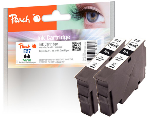 Peach Doppelpack Tintenpatronen schwarz kompatibel zu Epson T2701, No. 27 bk