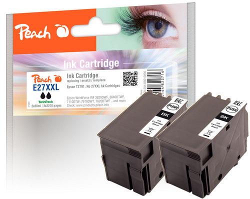 Peach Doppelpack Tintenpatronen schwarz kompatibel zu Epson T2791, No. 27XXL