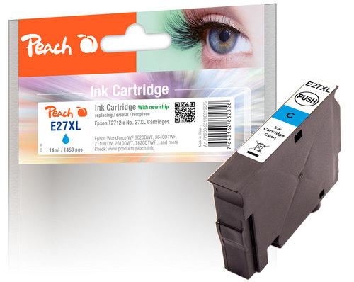 Peach Cartouche d'encre cyan compatible avec Epson T2712, No. 27XL c