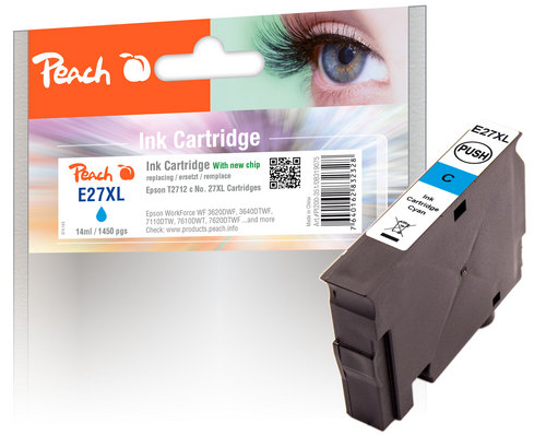 Peach Tintenpatrone cyan kompatibel zu Epson T2712, No. 27XL c