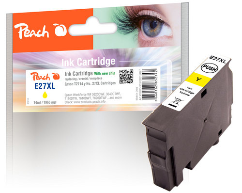Peach Cartouche d'encre jaune compatible avec Epson T2714, No. 27XL y