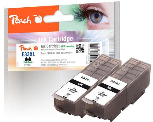 Peach Twin Pack Cartouche d'encre XL noire, compatible avec Epson No. 33XL