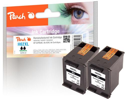Peach Doppelpack Druckköpfe schwarz kompatibel zu HP No. 62XL, C2P05AE