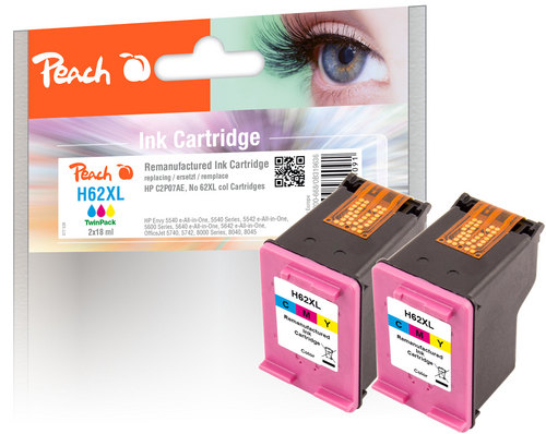 Peach Doppelpack Druckköpfe color kompatibel zu HP No. 62XL, C2P07AE