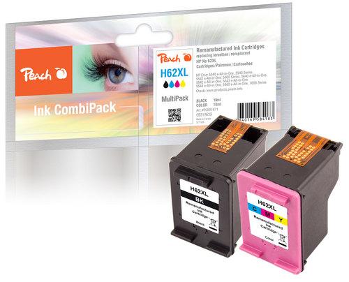 Peach Multipack compatible avec HP No. 62XL, C2P05AE, C2P07AE