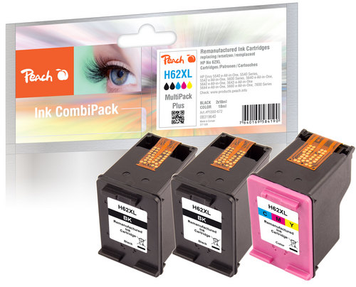 Peach Multipack Plus compatible avec HP No. 62XL, C2P05AE, C2P07AE