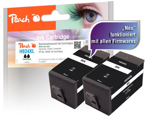 Peach Twin Pack Cartouche d'encre noire HC compatible avec HP No. 934XL, C2P23AE