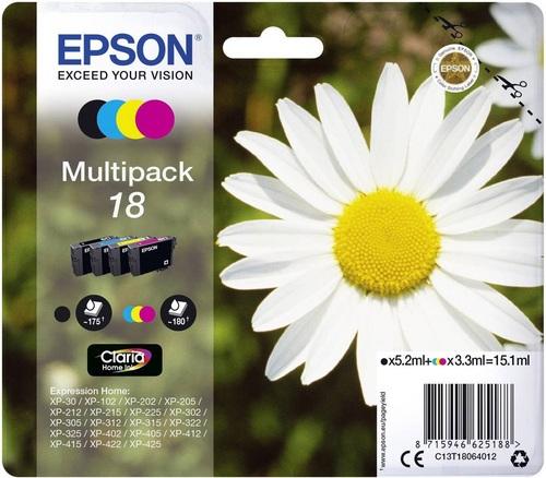 Epson 18 Multipack, TPA schwarz, cyan, magenta und yellow