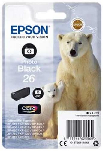 Epson T26, TPA Foto schwarz, 200 Seiten, 4.7ml