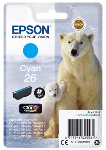 Epson T26, TPA cyan, 300 Seiten, 4.5ml